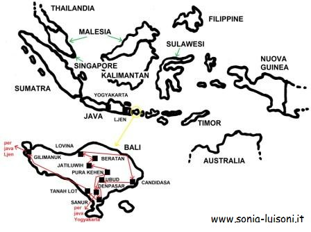 Cartina Bali Indonesia.Indonesia